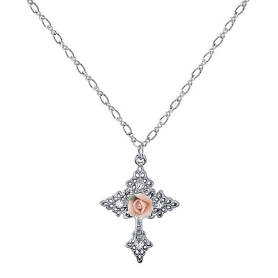 Silver Tone Crystal Porcelain Rose Cross Pendant Necklace 18 In
