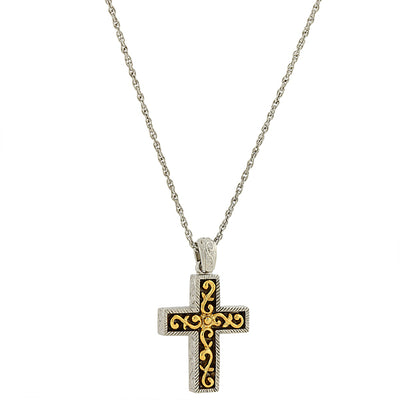 14K Gold Dipped And Silver Tone Cross Pendant Necklace 24 In