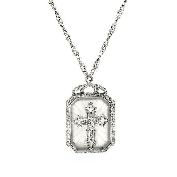 Symbols of faith silver tone frosted stone cross pendant necklace aloadofball Image collections