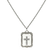 Silver Tone Frosted Stone With Crystal Cross Large Pendant Necklace 18 In