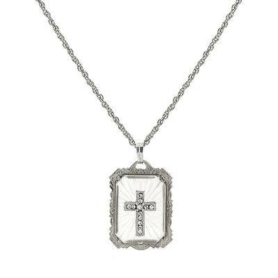 Silver-Tone Frosted Stone with Crystal Cross Large Pendant Necklace 18 In