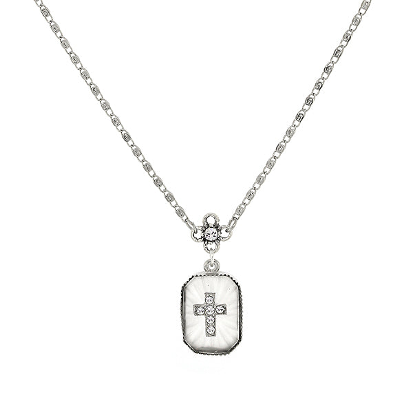 Silver-Tone Frosted Stone With Crystal Cross Necklace 16 - 19 Inch Adjustable
