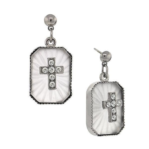 Silver Tone Frosted Stone Crystal Cross Drop Earrings