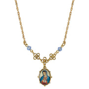 Gold Tone Light Blue Small Oval Mary Pendant Necklace 16 In  Adj