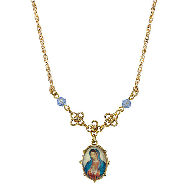 Gold-Tone Light Blue Small Oval Mary Pendant Necklace 16 In  Adj