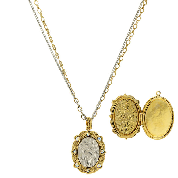 14K Gold Dipped & Silver Tone Crystal Ab Angel Locket Double Strand Necklace 24 Inch