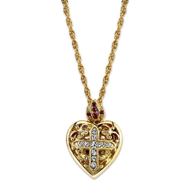 14K Gold Dipped Crystal Heart Cross Locket Necklace 20 Inches