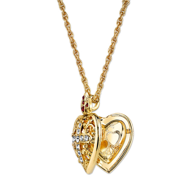 Symbols Of Faith 14K Gold-Dipped Crystal Heart Cross Locket Necklace 20 Inches