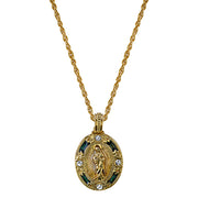 14K Gold-Dipped Crystal Blue Enamel Our Lady Of Guadalupe Pendant Necklace 18 In