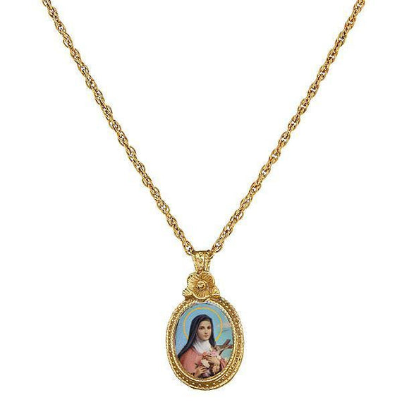 1928 Jewelry: Symbols of Faith - Symbols of Faith 14K Gold-Dipped St. Therese Medallion Necklace