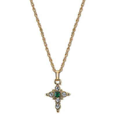 1928 Jewelry: Symbols of Faith - Symbols of Faith 14K Gold-Dipped Green and Crystal Cross Pendant Necklace