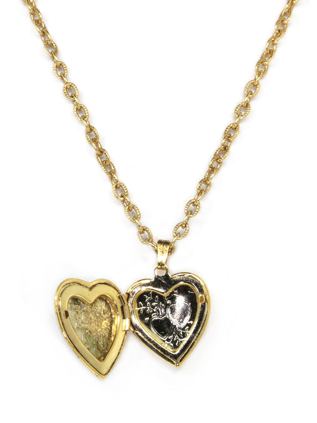 Symbols Of Faith 14K Gold-Dipped Red Enamel Cross Of Glory Heart Locket Necklace 16 - 19 Inch Adjustable
