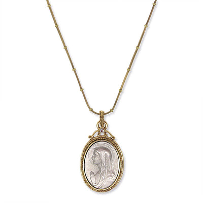 14K Gold Dipped & Silver Tone Crystal Virgin Mary Medallion Necklace 20 In