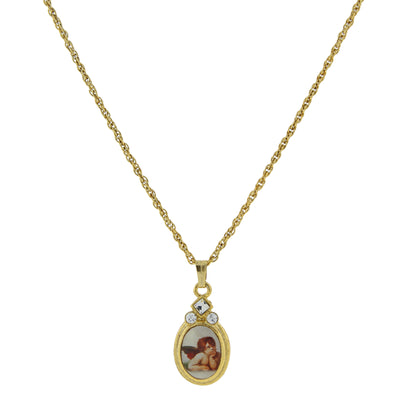 14K Gold Dipped Cherub Crystal Angel Decal Oval Pendant Necklace 18 Inches