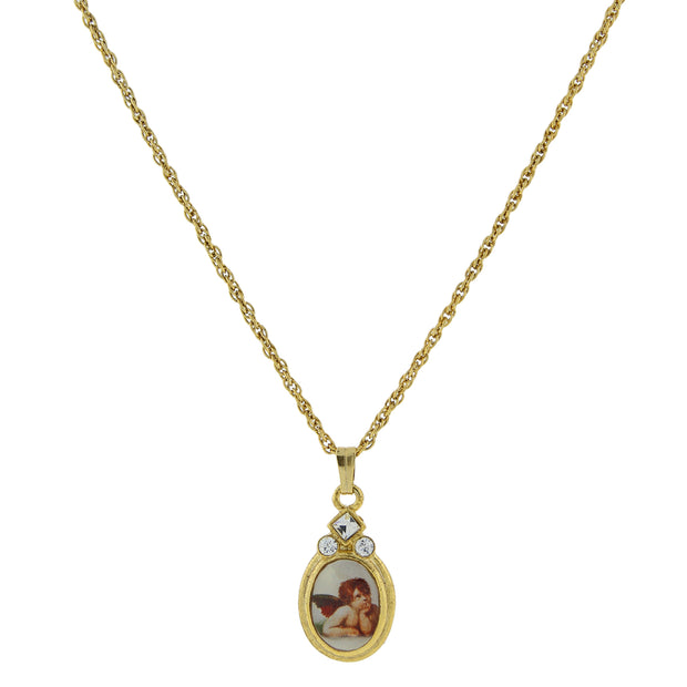 14K Gold-Dipped Cherub Crystal Angel Decal Oval Pendant Necklace 18 Inches