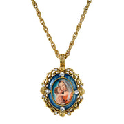 14K Gold Dipped Crystal Blue Enamel Mary And Child Pendant Necklace 24 In