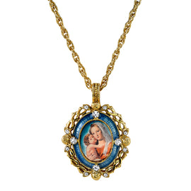 1928 Jewelry: Symbols of Faith - Symbols of Faith 14K Gold-Dipped Crystal Blue Enamel Mary and Child Pendant Necklace