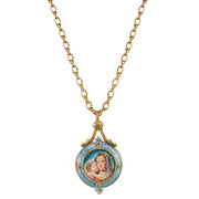 Blue Enamel Mary And Child Locket Necklace