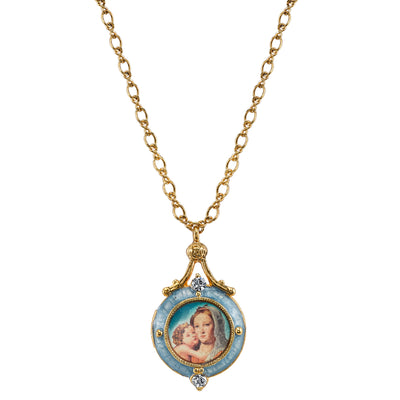 14K Gold-Dipped Blue Enamel Mary and Child Locket Necklace 18 In