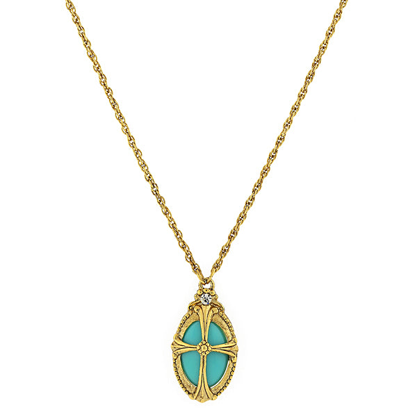 14K Gold-Dipped Imitation Turquoise Oval Necklace 20 In