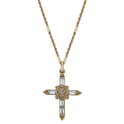 14K Gold-Dipped Crystal Cross Pendant Necklace 18 In