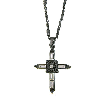 Black Tone Black Crystal Cross Pendant Necklace 18 In