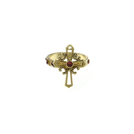 1928 Jewelry: Symbols of Faith - Symbols of Faith 14K Gold-Dipped Red Cross Ring Size 5.0