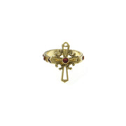 Carded 14K Gold-Dipped Red Cross Ring SIZE 6