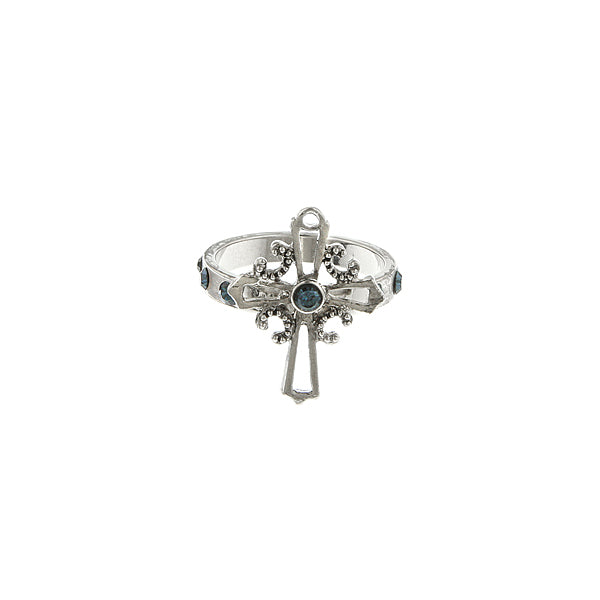Carded Silver Tone Blue Cross Ring Size 5
