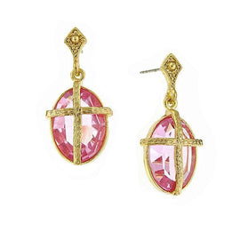 Symbols of Faith 14K Gold Dipped Rose Pink Oval Cross Earrings