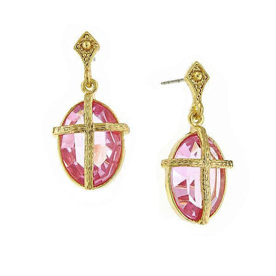 14K Gold Dipped Rose Pink Color Oval Stone With Cross Earrings