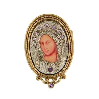 14K Gold Dipped And Silver Tone Purple Crystal Enamel Small Iconica Mary Brooch