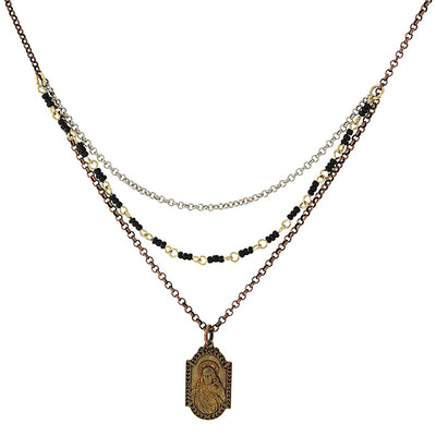 Mixed Metal Sacred Heart/Our Lady Of Mount Carmel Medal Necklace 16 - 19 Inch Adjustable