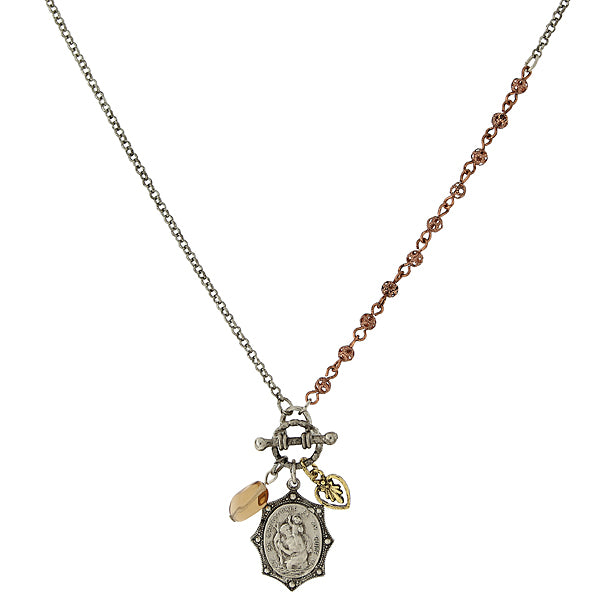 Mixed Metal St. Christopher Medal and Charm Toggle Necklace 16 In Adj