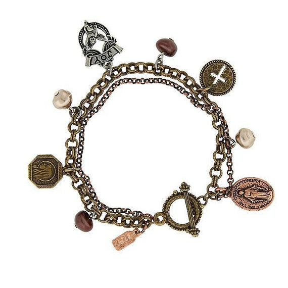 1928 Jewelry: Symbols of Faith - Symbols of Faith Mixed Metal Miraculous Medal Angel Charm Toggle Bracelet