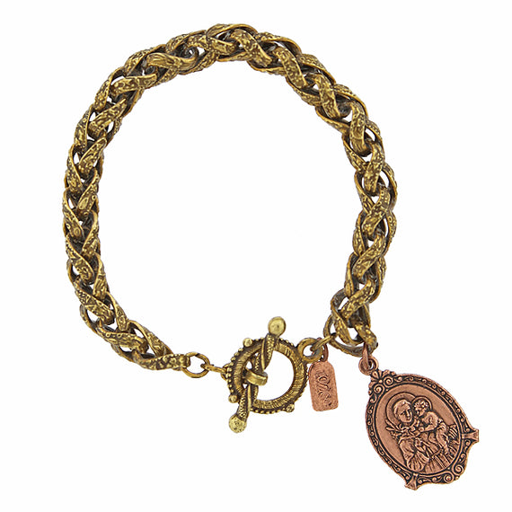 1928 Jewelry: Symbols of Faith - Symbols of Faith Mixed Metal St. Anthony and Baby Jesus Medal Toggle Bracelet