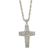 Silver Tone Pope Francis Necklace 26 In