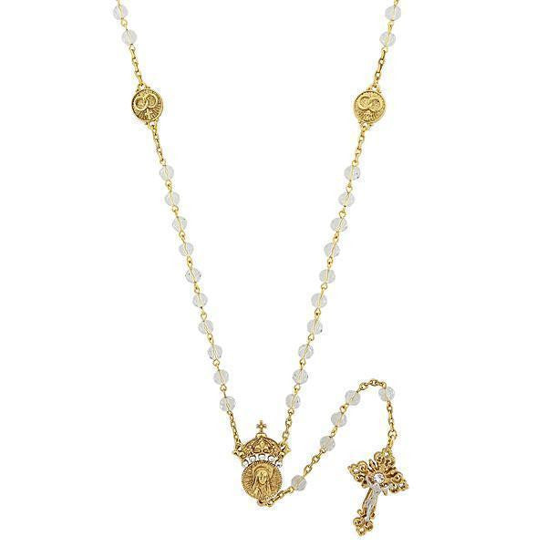 14K Gold Dipped Crystal Two Rings And Cross Medallion Wedding Rosary 20