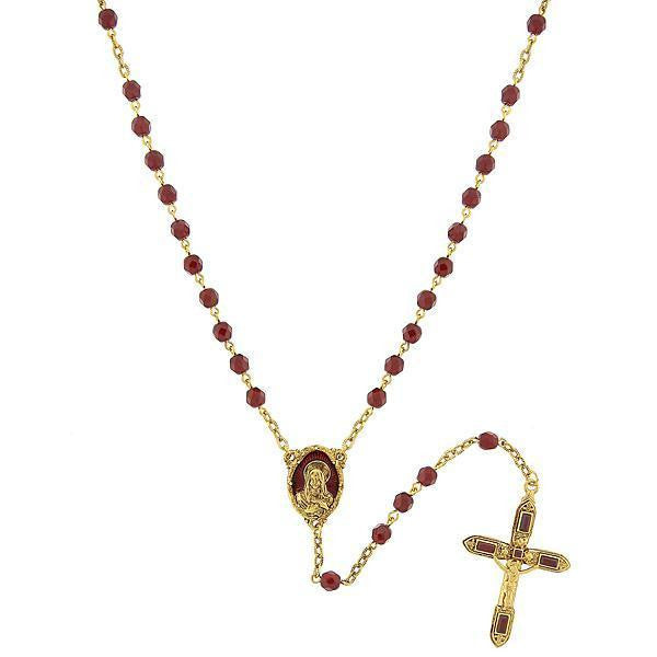 14K Gold Dipped Red Bead And Red Enamel Rosary