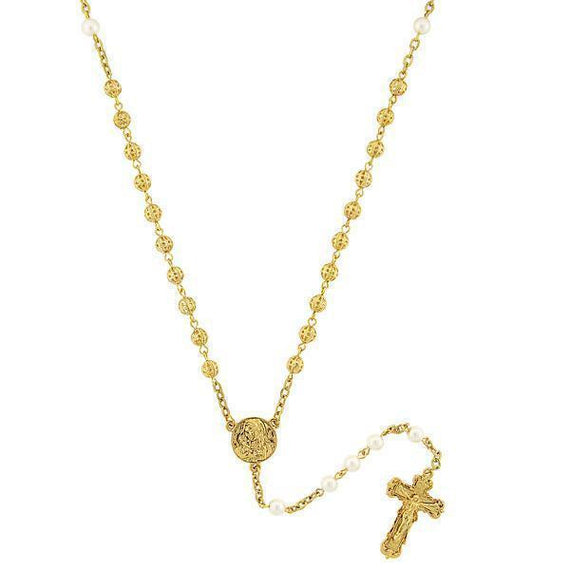 14K Gold-Dipped Simulated Pearl Filigree Beaded Rosary
