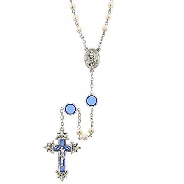 Costume Pearl Blue Crystal and Blue Enamel Channel Rosary
