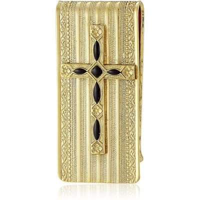 14K Gold Dipped Black Cross Money Clip