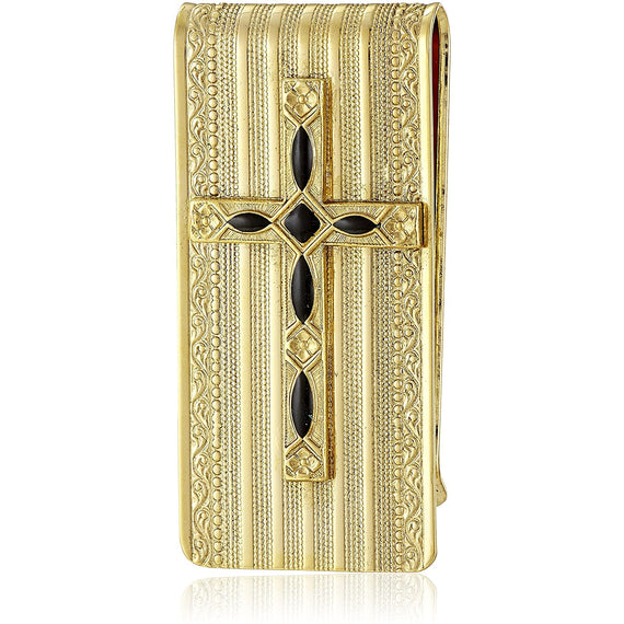 Symbols of Faith 14K Gold Dipped Black Cross Money Clip