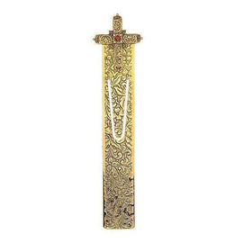 14K Gold-Dipped Red Crystal Renaissance Cross Large Bookmark