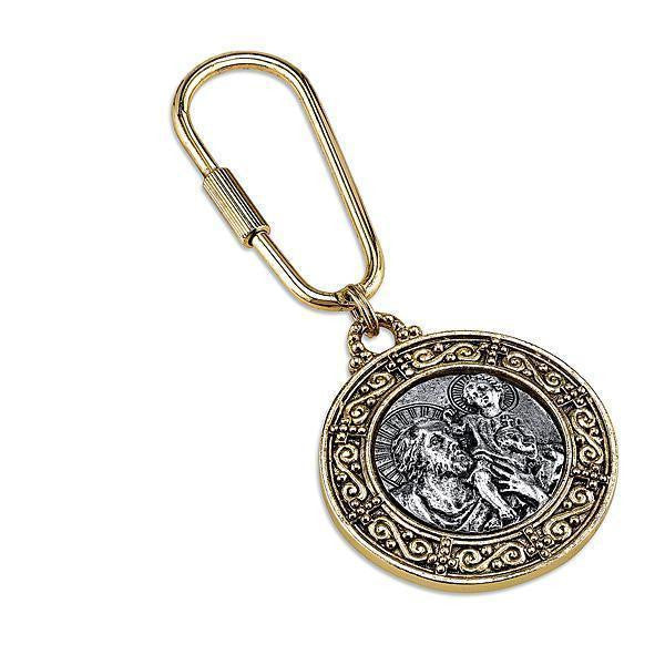 14K Gold-Dipped And Silver-Tone St. Christopher Key Fob