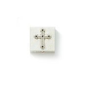 Silver-Tone Black Crystal Cross Pill Box
