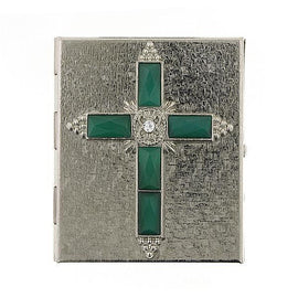 Silver-Tone Crystal and Green Cross Rosary Box