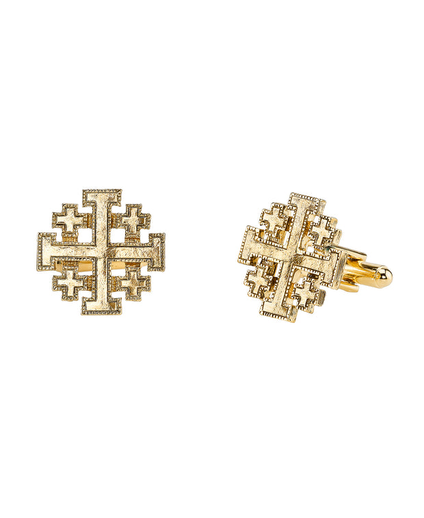 14K Gold-Dipped Jerusalem Cross Round Cuff Links
