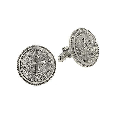 Silver Tone Cross Round Cuff Links