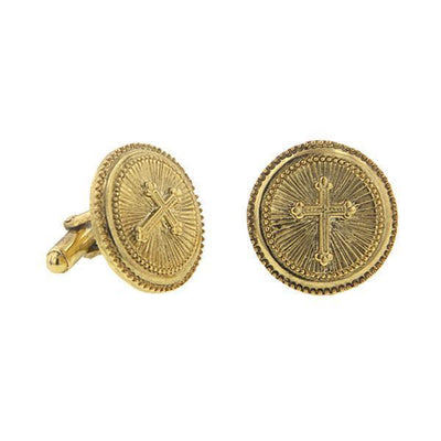 14K Gold Dipped Cross Round Cuff Links